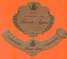étiquette + Collerette De Champagne Brut Rosé Leconte Agnus à Troissy Bouquigny - 75 Cl - Champagne