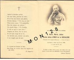 FAIRE PART DECES 15/5/1938 DE HENRI MARIE JEHAN COMTE JEHAN AYMER DE LA CHEVALERIE LEGION D'HONNEUR CROIX DE GUERRE - Décès