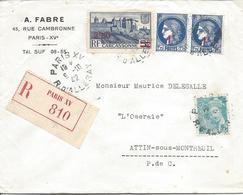 PARIS XV 9 10 1942 Recommandé Tarif 5F Timbres Carcasonne Surchargé 2.50F Mercure 50c Et 2 Ex Céres Surchargés 1F - Marcophilie (Lettres)