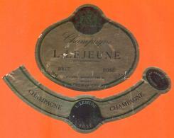 étiquette + Collerette De Champagne Brut Rosé L Lejeune à Villers Marmery - 75 Cl - Champagne
