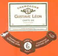 étiquette + Collerette De Champagne Brut Gustave Léon à L'épine - 75 Cl - Champagne