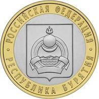Russia, 2011 Burjatija, 10 Rbl Rubels Rubles Bi-metallic Uncirculated - Russland