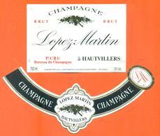 étiquette + Collerette De Champagne Brut Lopez Martin à Hautvillers - 75 Cl - Champagne