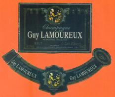 étiquette + Collerette De Champagne Brut Guy Lamoureux à Les Riceys - 75 Cl - Champagne