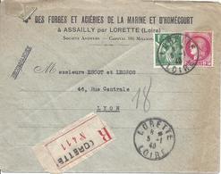 LORETTE LOIRE 5 1 1940 Recommandé Tarif 3F Timbres 1F Vert Iris N°432 Et 2F Ceres N°373 - Marcophilie (Lettres)