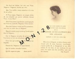 FAIRE PART DECES 8/04/1924 DE LA BARONNE D'OULLENBOURG NEE CEZANNE - Décès
