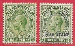 Falkland N°26 & 37 0,5p Vert 1912-20 * - Falkland