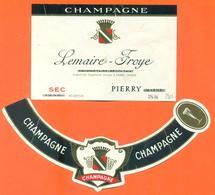 étiquette + Collerette De Champagne Brut Lemaire Froye à Pierry - 75 Cl - Champagne