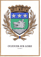 45 OUZOUER SUR LOIRE   - BLASON AVEC HERALDIQUE ET PETIT HISTORIQUE / CARTE DOUBLE - Ouzouer Sur Loire