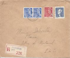 PARIS IX HIpolyte Lebas 11 7 1943 Recommandé Tarif 4.50F Timbre Lavoisier + Mercure 10c (2 Ex) Et 30c - Marcophilie (Lettres)