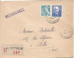 Alfortville 3 9 1944 Recommandé Tarif 4.50F Timbres Branly Et 50c Mercure - Marcophilie (Lettres)