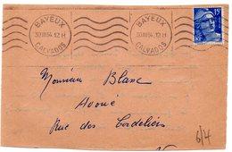 CALVADOS - Dépt N° 14 = BAYEUX 1954 = FLAMME KRAG Muette '5 Lignes Ondulées' Sur DEVANT D' Enveloppe - Postmark Collection (Covers)