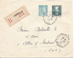 Alfortville1 2 1943 Recommandé Tarif 4.50F Timbres Massenet Et 50c Mercure - Marcophilie (Lettres)