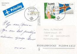 Aland 2001 Eckerö Map Cartography Flag Sailing Ship Viewcard - Aland