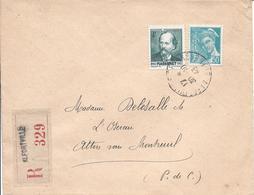 Alfortville30 10 1943 Recommandé Tarif 4.50F Timbres Massenet Et 50c Mercure - Marcophilie (Lettres)