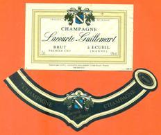 étiquette + Collerette De Champagne Brut Lacourte Guillemart à Ecueil - 75 Cl - Champagne