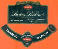 étiquette + Collerette De Champagne Brut Lucien Leblondt à Chavot Courcourt - 75 Cl - Champagne