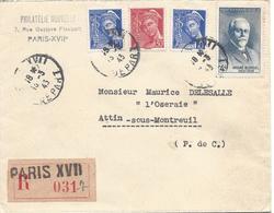 Paris XVII DEPART 13 3 1943 Recommandé Tarif 4.50F Timbre Blondel Mercure 10c (2ex) Et 30c - Marcophilie (Lettres)