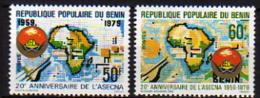 Benin N° 461 / 62 X 20ème Anniversaire De L' A. S.E.C.N.A.,   Les 2 Valeurs  Trace De Charnière Sinon TB - Bénin – Dahomey (1960-...)