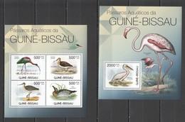X964 2012 GUINEE GUINEA-BISSAU FAUNA WATER BIRDS PASSAROS AQUATICOS 1KB+1BL MNH - Vögel