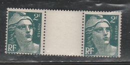 FRANCE N° 713a 2f VERT FONCE TYPE MARIANNE DE GANDON AVEC PONT PAPIER EPAIS NEUF SANS CHARNIERE - Curiosities: 1945-49 Mint/hinged