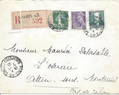 Paris 49 Rue Des Petits Champs 7 1 1943 Recommandé Tarif 4.50F Timbre Massenet Mercure 40c Semeuse Camée 10c - Marcophilie (Lettres)