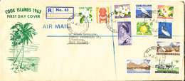 Cook Islands Registered FDC 4-6-1963 Definitive Set Of 11 Stamps With Cachet And Sent To Germany - Cook Islands