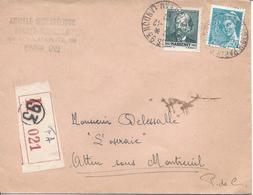 Paris 93 Rue De Chateau Landon 11 12 1942 Recommandé Tarif 4.50F Timbre Massenet Mercure 50c - Marcophilie (Lettres)