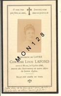 FAIRE PART DECES 8/07/1886 DE MARGUERITE DE LAYRE COMTESSE LOUIS LAFOND - Décès