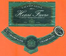 étiquette + Collerette De Champagne Brut Henri Favre à Dizy - 75 Cl - Champagne