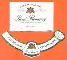 étiquette + Collerette De Champagne Brut René Florancy à Avize - 75 Cl - Champagne