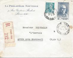 Paris 17 Av DE WAGRAM 9 1 1943 Recommandé Tarif 4.50F Timbre Blondel Et 50c Mercure - Marcophilie (Lettres)