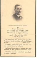 FAIRE PART DECES 14/04/1950 DE EDGARD JOSEPH GUY VICOMTE DE VANSSAY CHEVALIER DE LA LEGION D'HONNEUR - Décès