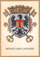 91 BOUSSY SAINT ANTOINE /   - BLASON  AVEC HERALDIQUE ET PETIT HISTORIQUE AU VERSO - CARTE DOUBLE - France