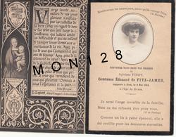 FAIRE PART DECES 9/5/1913 DE SYLVIANE FINOT COMTESSE EDOUARD DE FITZ-JAMES - Décès