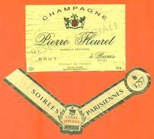 étiquette + Collerette De Champagne Brut Pierre Fleuret à Reims - 75 Cl - Champagne