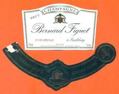 étiquette + Collerette De Champagne Brut Bernard Figuet à Saulchery - 75 Cl - Champagne