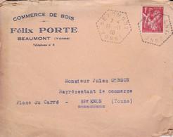 Lettre 1940 Commerce De Bois Felix Porte Cachet Beaumont  A Brienon Armançon Yonne - Marcofilia (sobres)