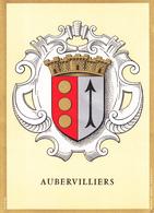 93 AUBERVILLIERS /   - BLASON  AVEC HERALDIQUE ET PETIT HISTORIQUE AU VERSO - CARTE DOUBLE - Aubervilliers