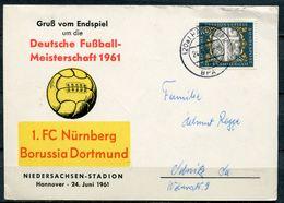 """Germany 1961 Sonderkarte Fußball ,Soccer Deutsche Meisterschaft Mit Mi.Nr.329 U.TST""""Hannover""""1 Karte - Fussball"""