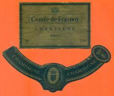 étiquette + Collerette De Champagne Brut Comte De Frasnoy Wranken à épernay - 75 Cl - Champagne