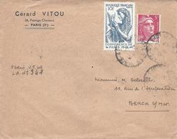 """Paris Mars 1947 Recommandé Provisoire  """"Paris VT 49"""" Tarif 15F Timbre Conférence De Paris Et Gandon 5F Rose - Marcophilie (Lettres)"""