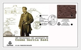Spain 2018 - 200th Anniversary Of The Birth Of Cosme García Sáez FDC - 1931-Hoy: 2ª República - ... Juan Carlos I