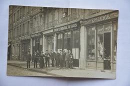 Carte-photo-ROUEN- Union Economique De Rouen-epicerie-animee-adherence Au Dos Car Etait Collee Dans Un Cahier-voir Scan - Rouen