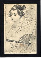 CPA Noury Gaston Art Nouveau éventail Circulé Asie Japon Japan - Non Classés