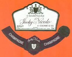 étiquette + Collerette De Champagne Brut Jacky Nicolo à Colombé Le Sec - 75 Cl - Champagne
