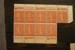 Bloc De 9 Bande Pub N°199 Neuf  (*)  Publicité Gibbs - Advertising