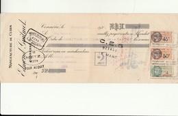 A 1 - Acquit Bancaire - Manufacture De Cuirs Edmond Guilmet  à CONNERRE - Steuermarken