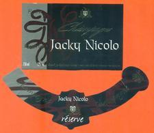 étiquette + Collerette De Champagne Brut Reserve Jacky Nicolo à Colombé Le Sec - 75 Cl - Champagne