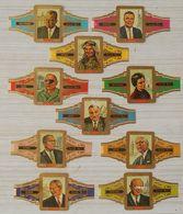 F49 Lot Bagues De Cigares  Lugano  Série 12 Personnages Politiques  10 Pièces - Cigar Bands